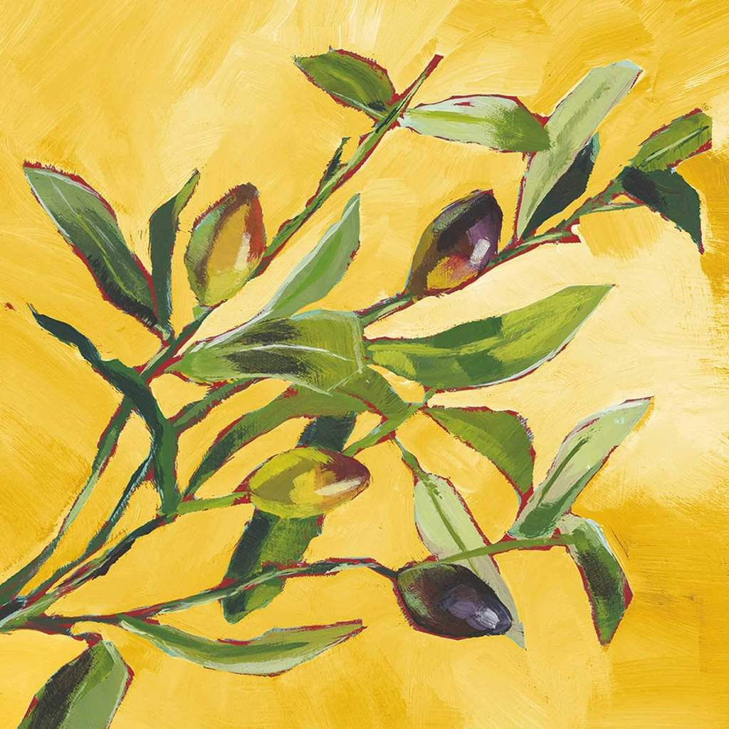 A painting of an olive branch with 4 olives.