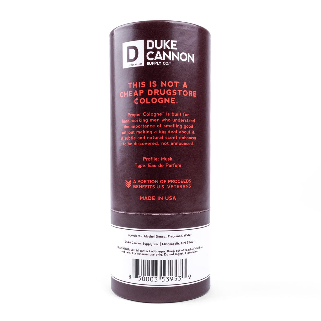 A close up of the back of the container for Duke Canon Randolph Cologne