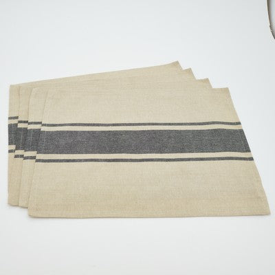 Stack of 4 tan placemats with a thick horizontal gray stripe in the middle.  A thin gray stripe is also running parallel above and below the thick stripe.