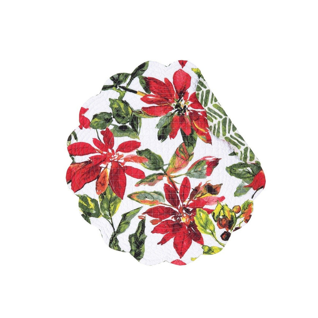 White round placemat with scalloped edge and a printed poinsettia and berry pattern.  Right edge of placemat is curled over to reveal the reverse side, a green pattern resembling a broken chevron.