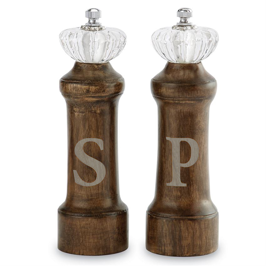 Wooden salt and pepper grinder with etched S & P and glass door knob detail on top