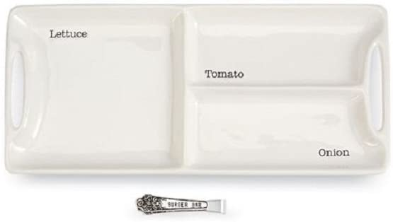 White sectioned tray with hand holds on both ends, and de-bossed words in each section saying 'lettuce', 'tomato', and 'onion' with a small set of silver tongs that feature the words 'burger bar' on the side