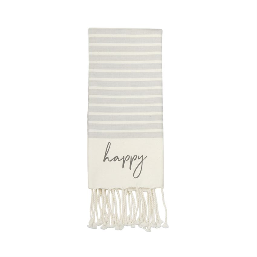 Gray and white striped Turkish hand towel with twisted tassel trim and happy printed in dark gray