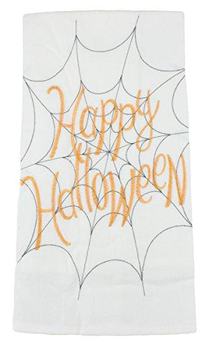 White cotton kitchen towel with Happy Halloween orange text and black spider web embroidered