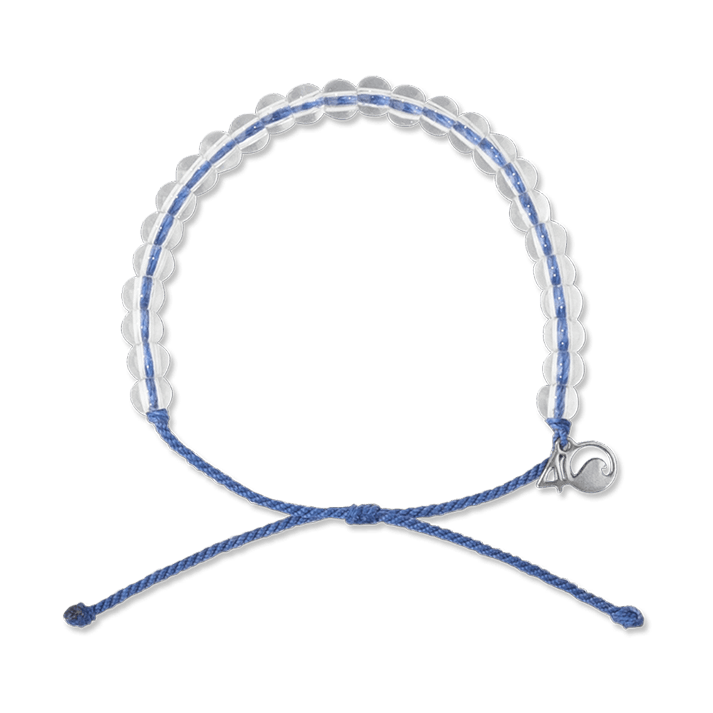 A bracelet made from post-consumer recycled palstic and glass, with blue cord