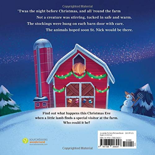 The back of 'twas the night before christmas on the farm book cover.  Features artwork of a decorated barn, snowman and the first few lines of the book.