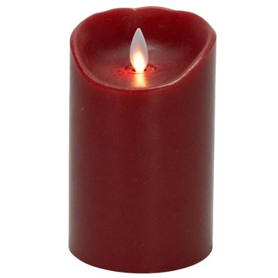 "Red 5"" tall flameless LED flicker candle"