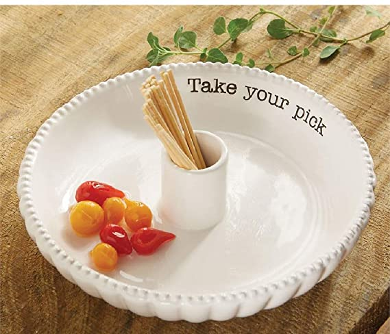 "White ceramic dish with a holder in the middle for toothpicks.  Black de-bossed text on the inside of the dish says ""take your pick"""