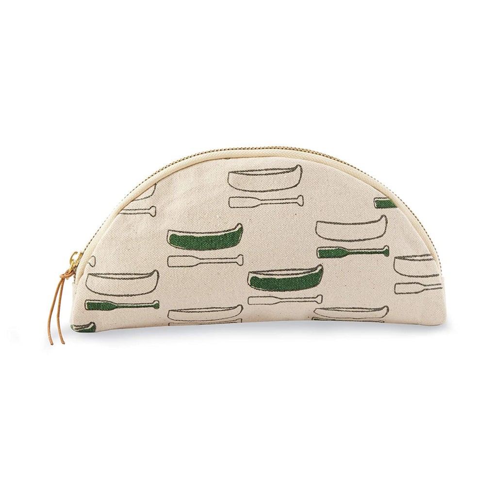 Semi-circle canvas cosmetic bag with zipper and leather tie zipper grab.  Features a canoe and oar repeating pattern printed on the side.  Alternating canoes and oars are filled in like watercolor paint with green.