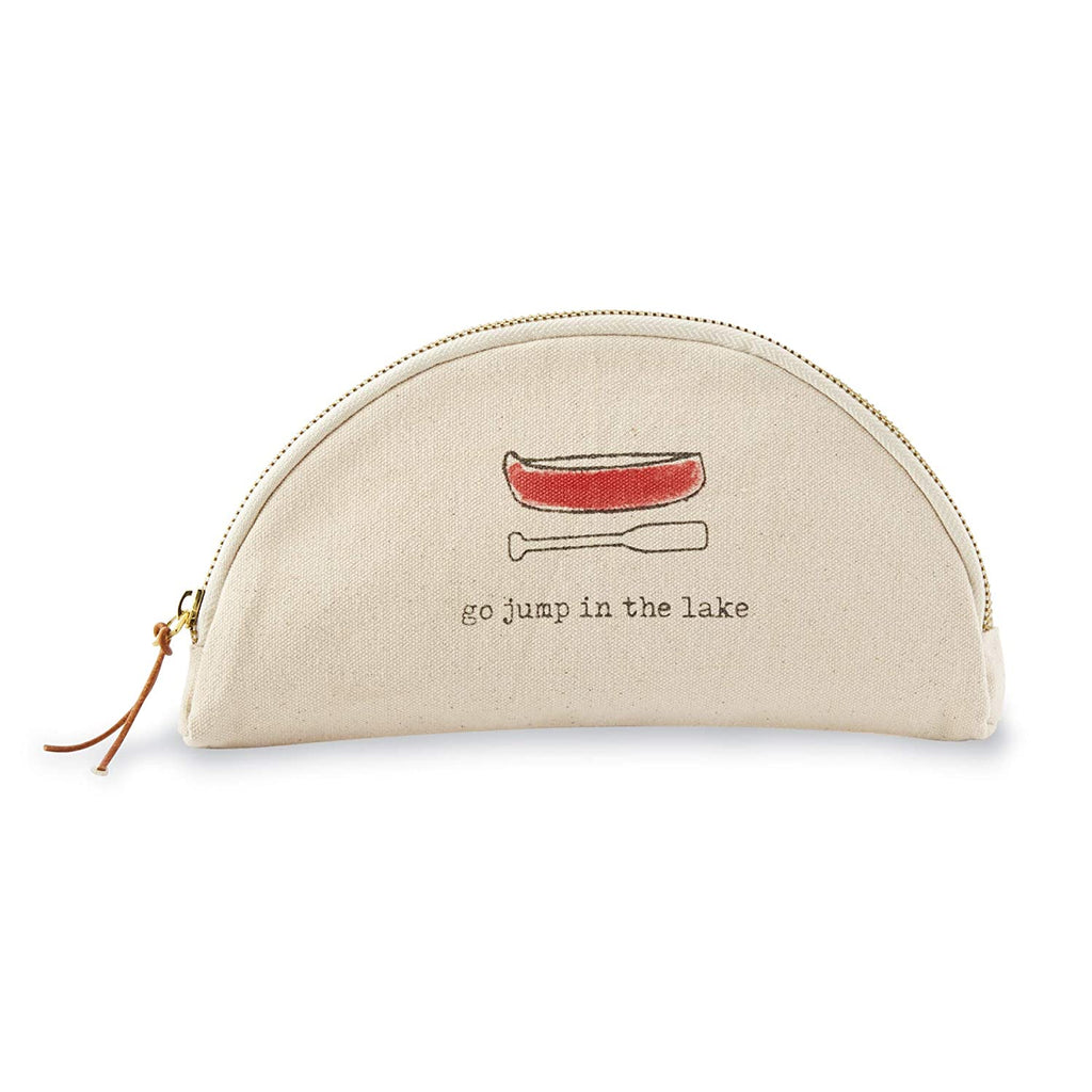 Semi-circle shaped canvas cosmetic bag with zipper and brown leather tie zipper grab.  A red canoe and oar with the text 'go jump in the lake' is printed on the side of the bag.