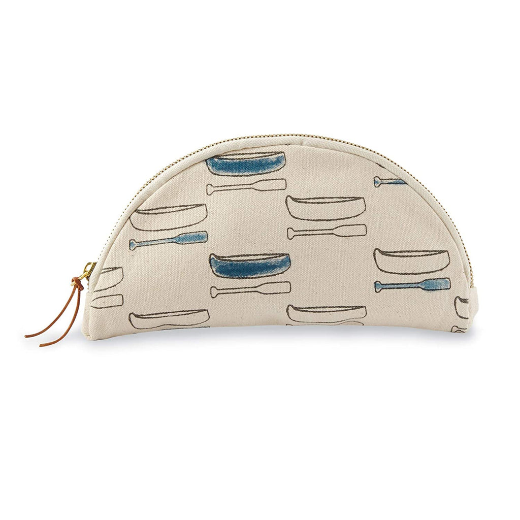 Semi-circle canvas cosmetic bag with zipper and leather tie zipper grab.  Features a canoe and oar repeating pattern printed on the side.  Alternating canoes and oars are filled in like watercolor paint with blue.