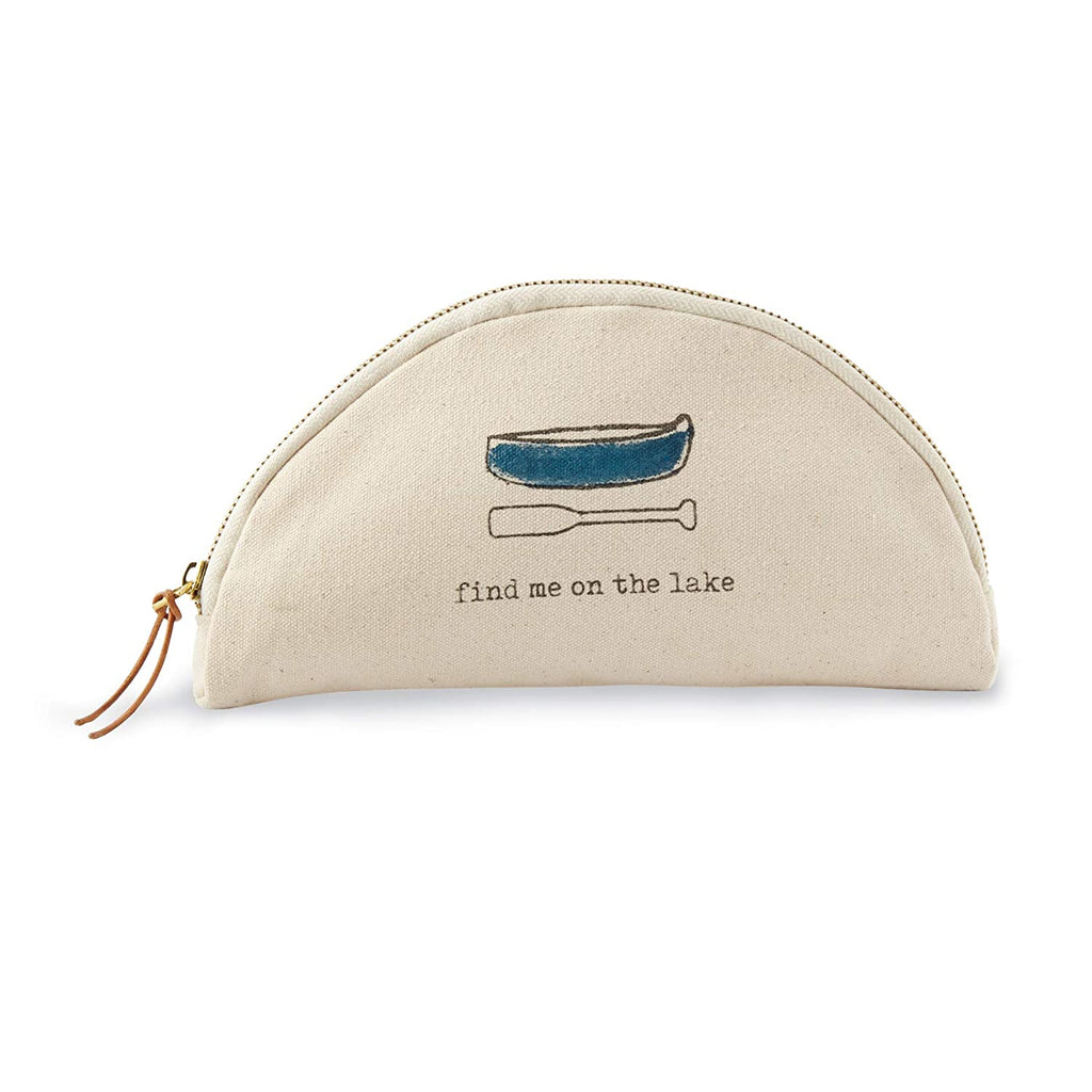 Semi-circle shaped canvas cosmetic bag with zipper and brown leather tie zipper grab.  A blue canoe and oar with the text 'find me on the lake' is printed on the side of the bag.