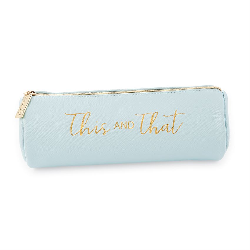 Blue leatherette brush bag with gold text saying 'this and that'