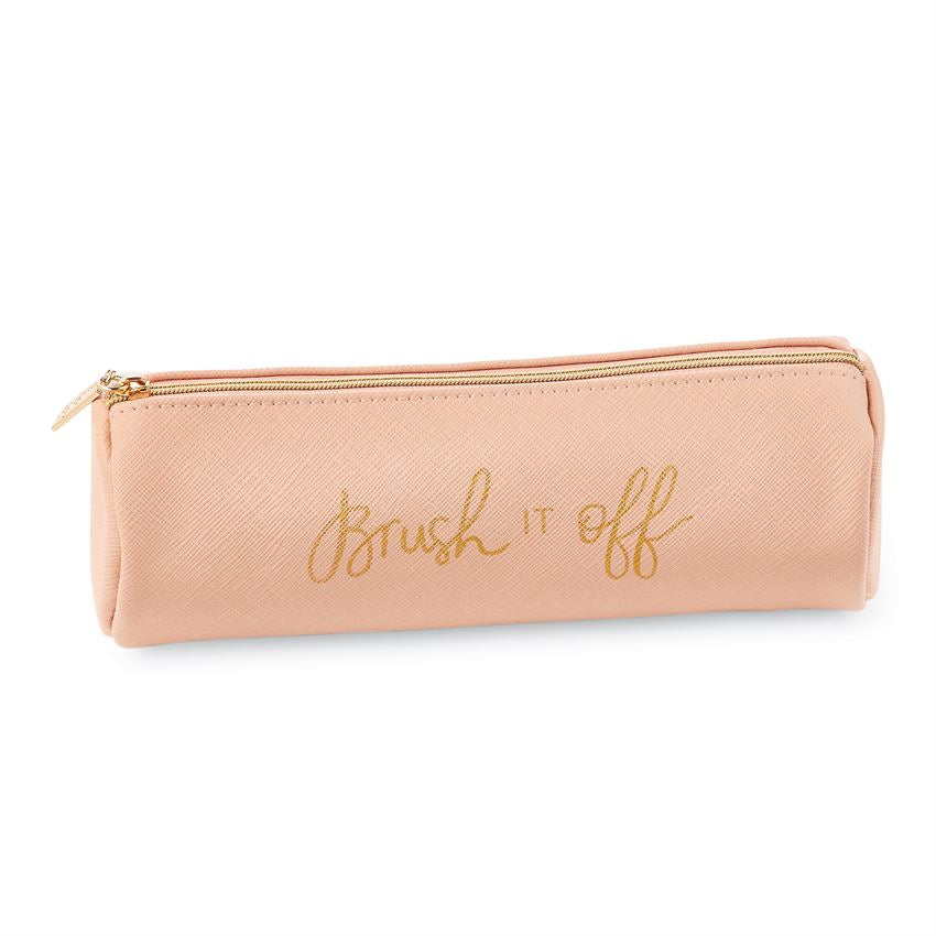 Pink leatherette brush bag with gold text saying 'brush it off'