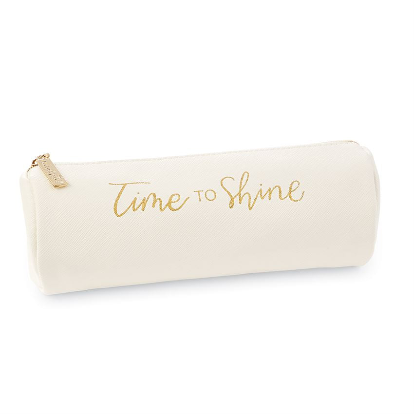 White leatherette brush bag with gold text saying 'time to shine'