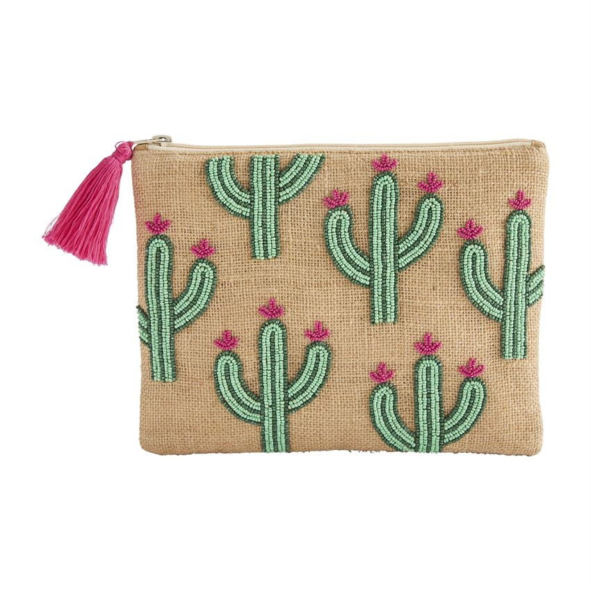 A natural jute case with beaded detail in the shape of cacti with pink flowers on them.  The tassel on the zipper matches the color of the flowers.