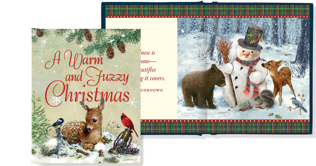 The cover of the book 'A Warm and Fuzzy Christmas in front of a sample of the inside of the book.  The inside of the book shows an image of a snowman with woodland creatures.