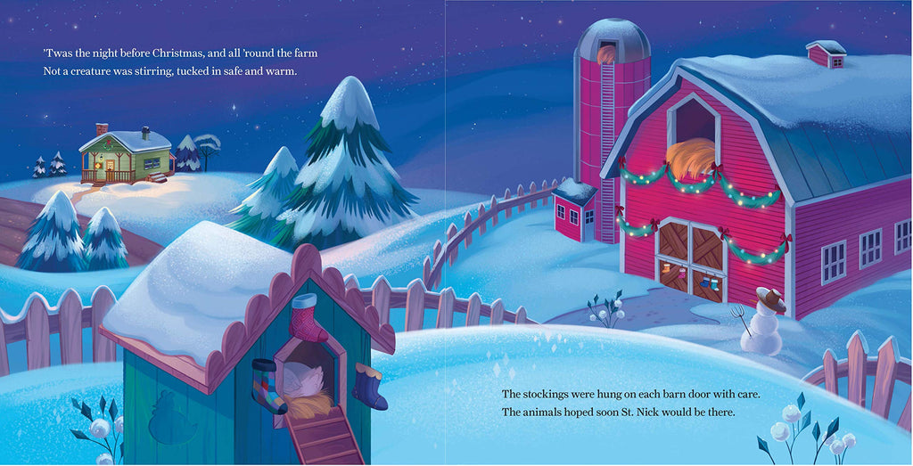 The first two pages of the inside of the book, showcasing the farmhouse, barn, chicken coop all with christmas decorations.