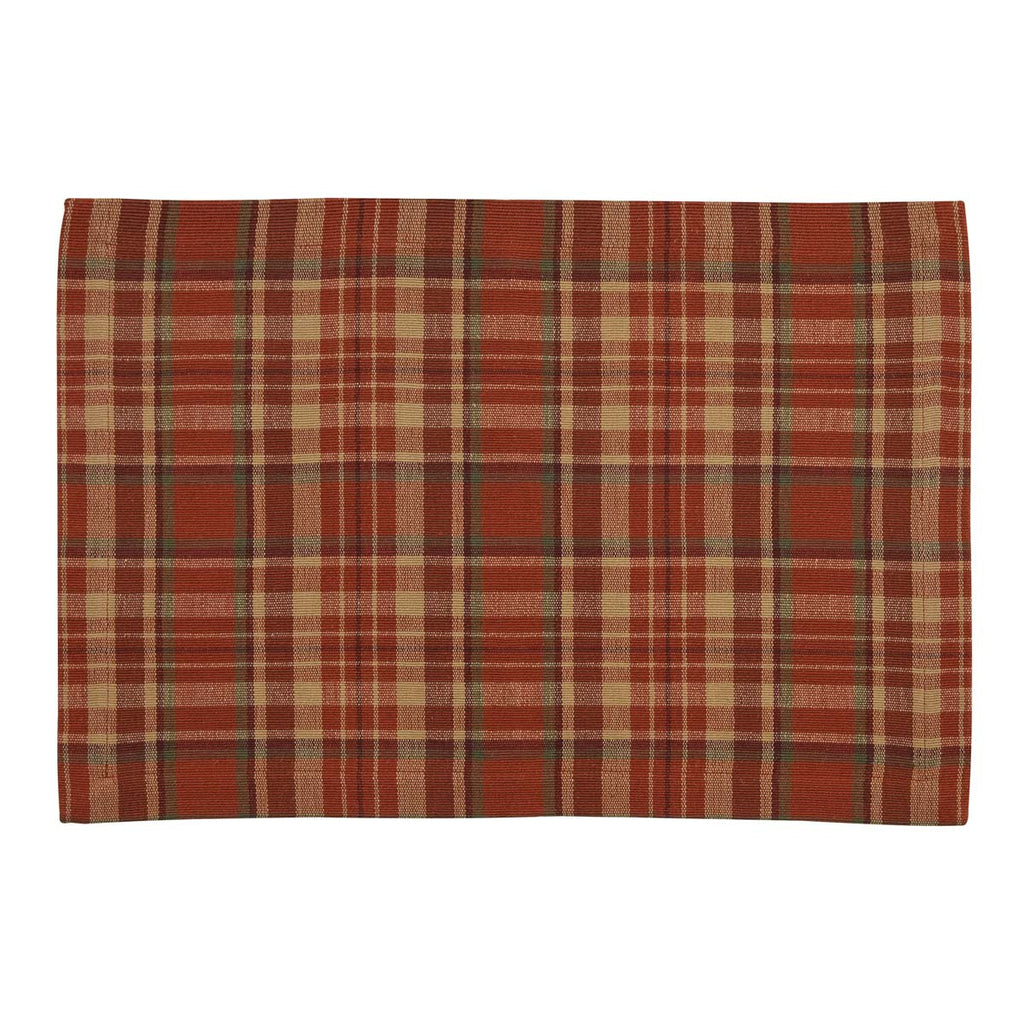 Plaid placemat with orange, tan, green and burgundy colors on a white background.