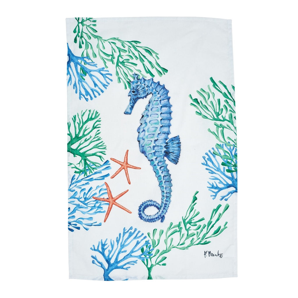 White cotton kitchen towel with an image of a blue seahorse and coral printed on it
