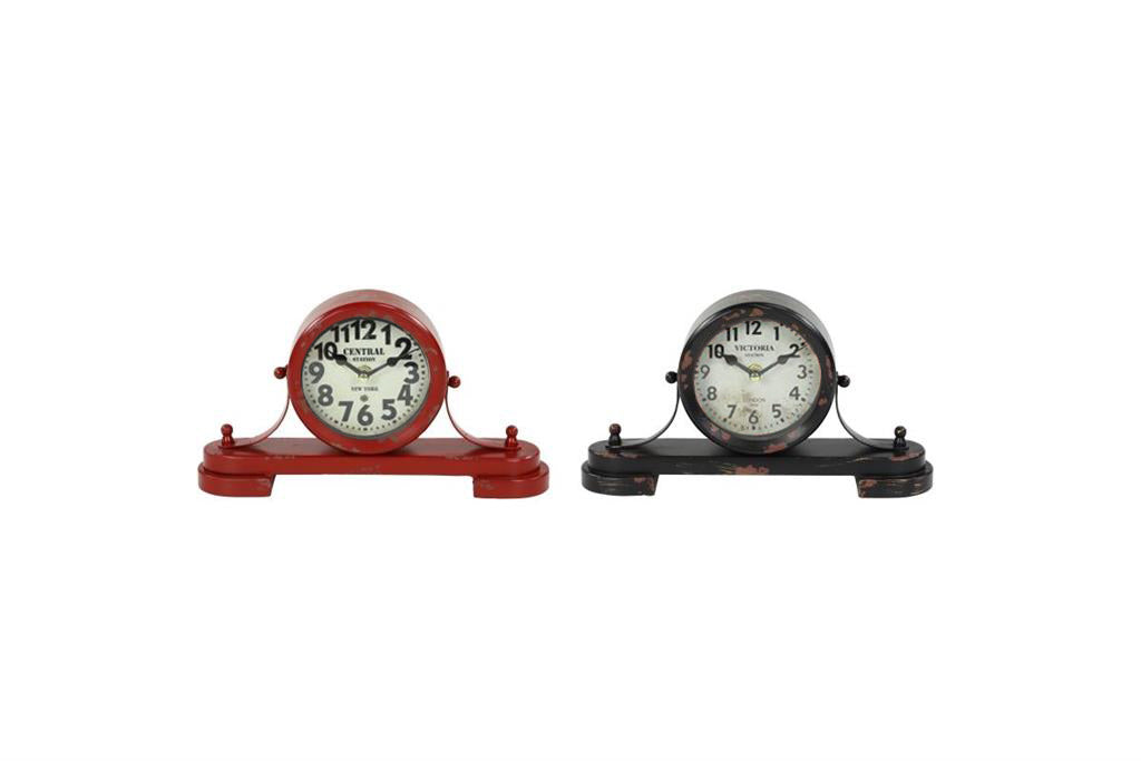 Two clocks, one red one black with vintage distressing.