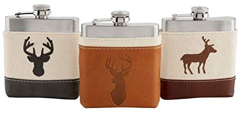 Collection of three flasks on a white background.  Each stainless steel flask is in a canvas and fake leather pouch with an image of a deer.