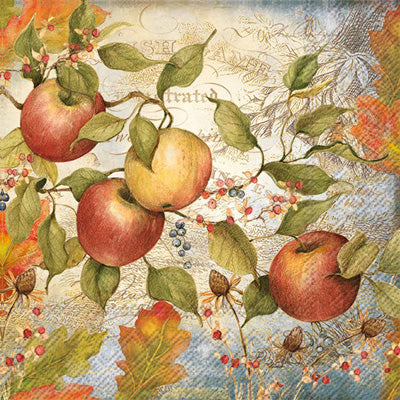 Paper napkin with an illustration of apples, and leaves on a white and blue background.