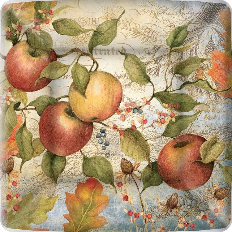 Square paper plate with an illustration of apples, and leaves on a white and blue background.