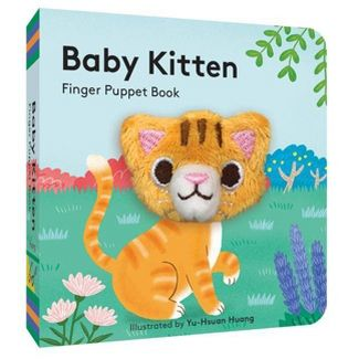 "Cover and spine photo of ""Baby Kitten Finger Puppet Book"".  Background is illustration of a back yard with trees grass and flowers.  The kitten's body is drawn and the face is a plush finger puppet that is poking through the cover."