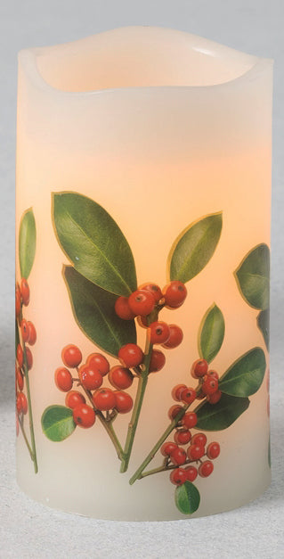 White LED pillar candle with LED internal glow.  Exterior of candle features a holiday red berry print with green leaves and stem.