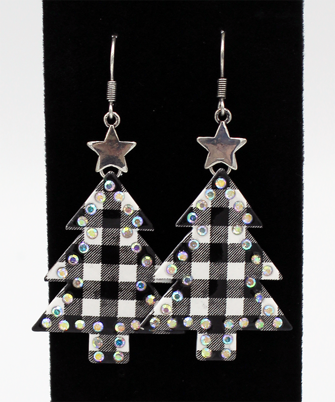 White and Black plaid earrings with rhinestone outline and silver star on a black background.