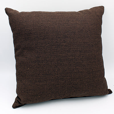 Plain brown square pillow on white background.