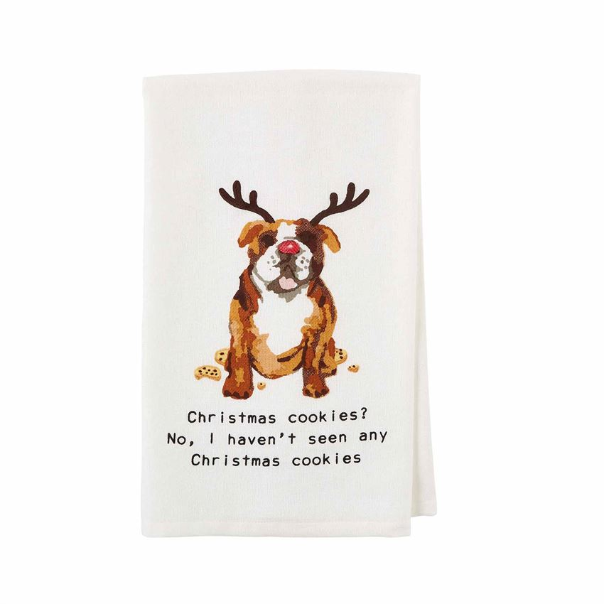 Image of watercolor bulldog wearing reindeer antlers and half eaten cookies on a hand towel.  Text below image reads 'Christmas Cookies?  No, I haven't seen any Christmas Cookies""