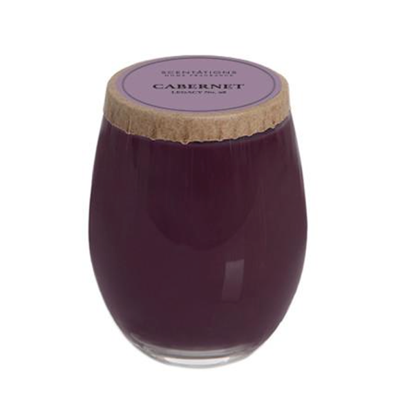 Stemless wine glass cabernet candle, with brown lid and label on top.