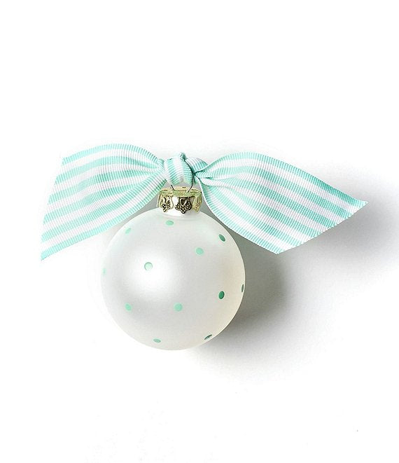 Back of glass Cheer Ornament with teal and white bow and teal dots.