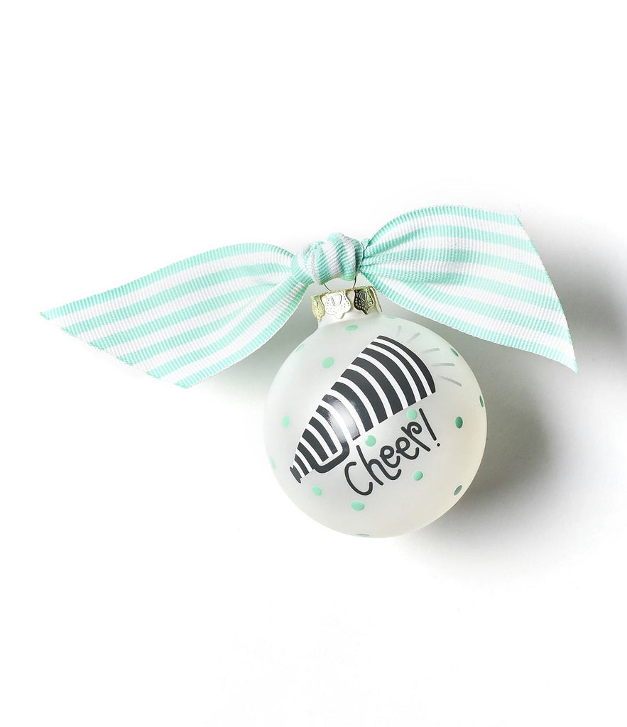 "Glass Cheer Ornament with teal and white bow.  Ornament has a black and white bullhorn and the text ""Cheer!""  Teal dots are on the rest of the ornament."