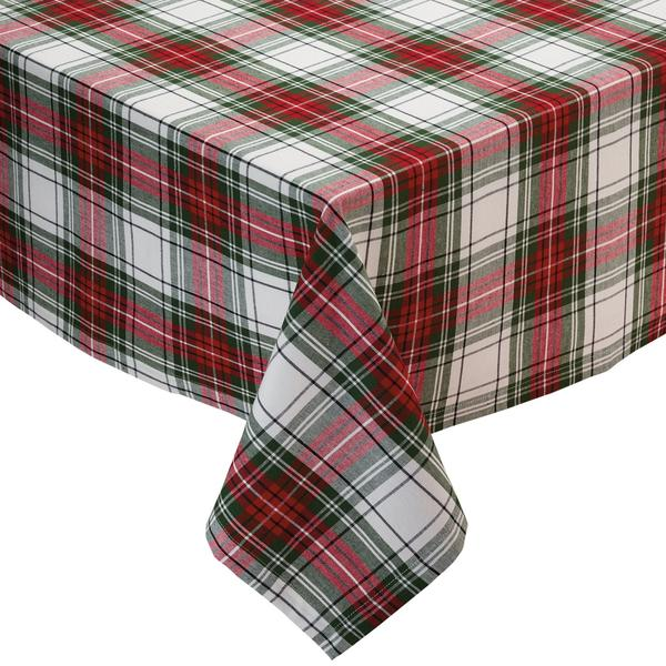 Christmas Plaid tablecloth, white background with traditional deep red and evergreen plaid design.  Photo is of a corner of a table with a simple pleated corner.