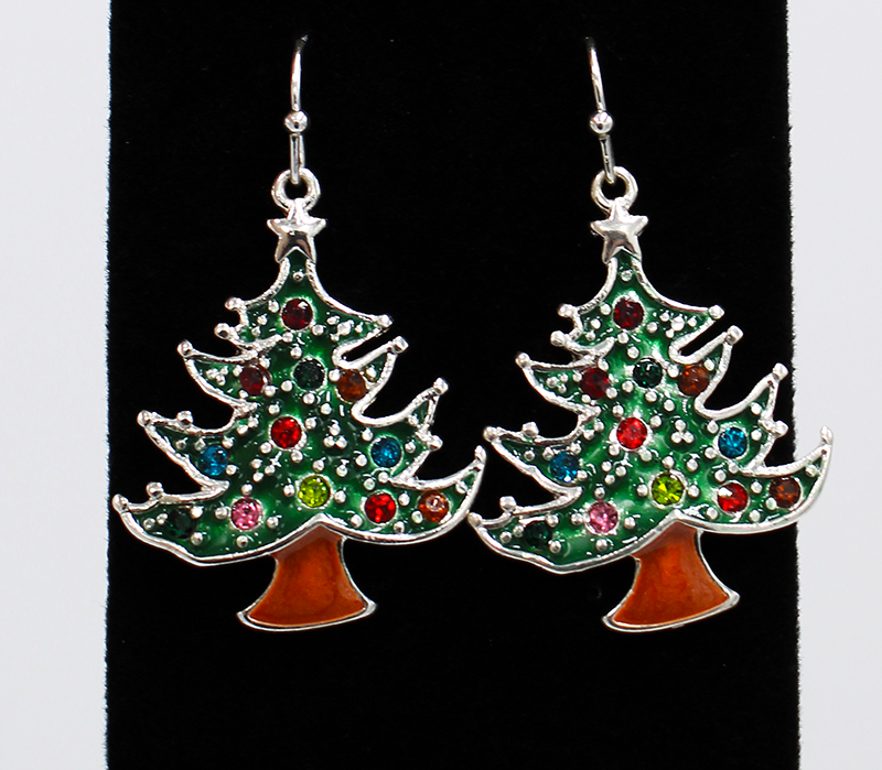 Green Christmas Tree earrings with multi color rhinestones as ornaments.  Tree and stump are outlined in silver.