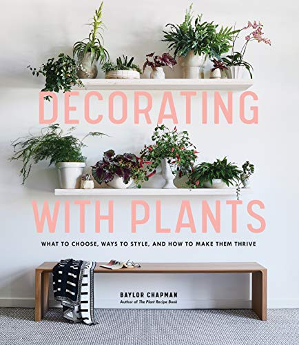 Book cover of 'Decorating with Plants'.  Features two bookshelves of various plants in white pots of several sizes, on a white wall, above a brown wooden bench with a black and white blanket on it.