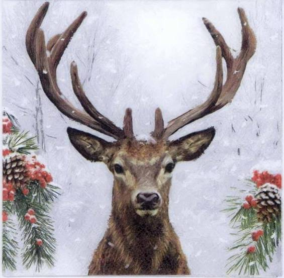 Printed napkin with reindeer in the winter in front of trees and evergreen sprigs with pine cones and red berries.