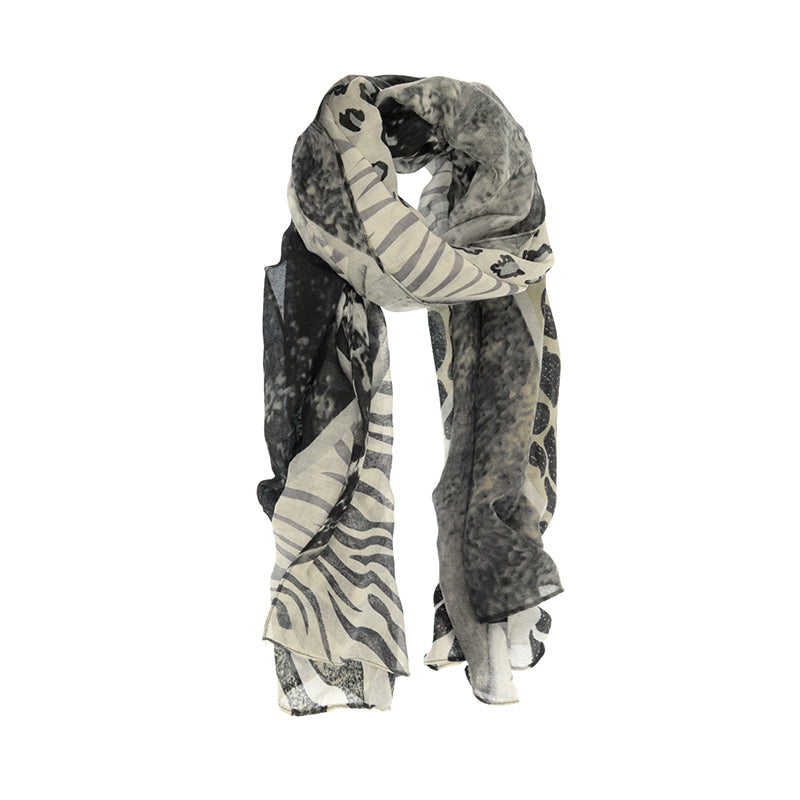 Animal Safari Print Scarf Black