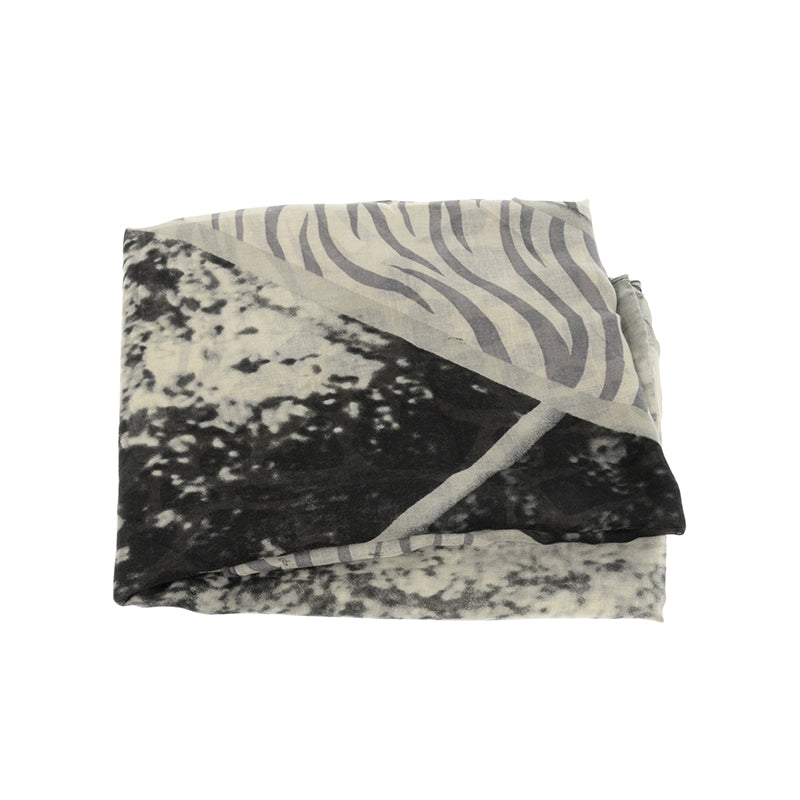 Animal Safari Print Scarf Black Closeup