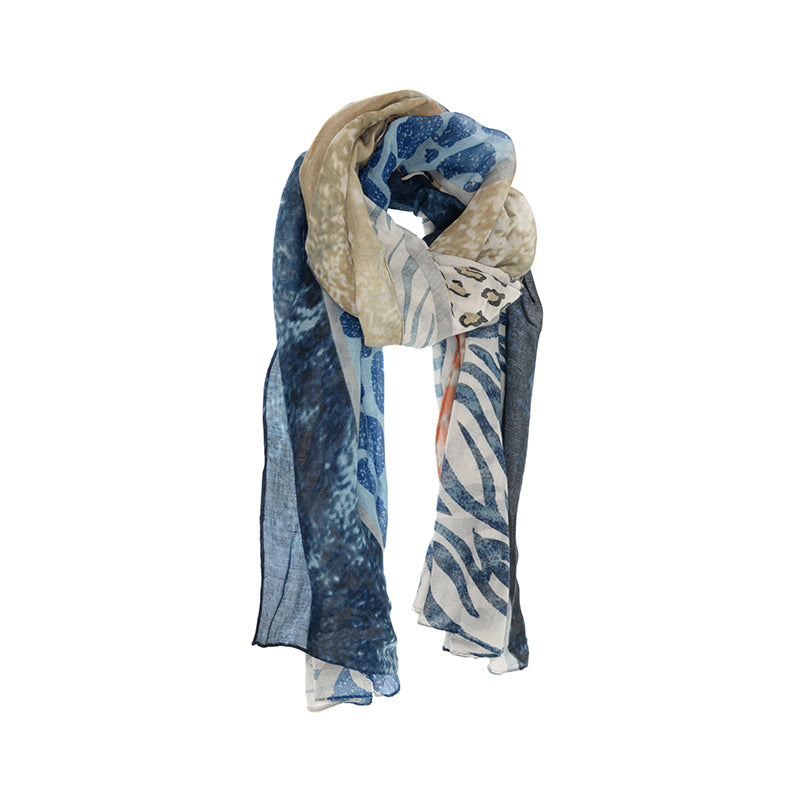 Animal Safari Print Scarf Blue