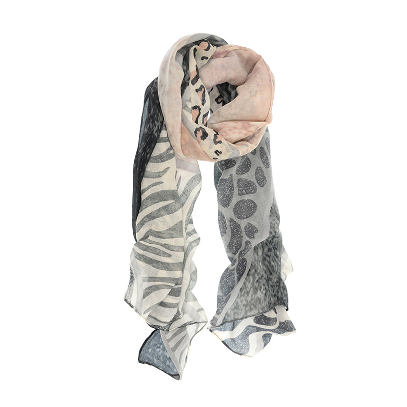 Animal Safari Print Scarf Pink and Grey