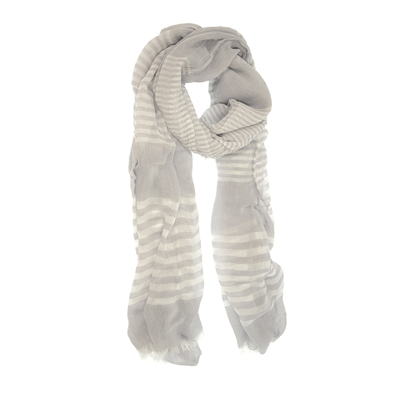 Grey  Scarf with White Stripes and Frayed Tips