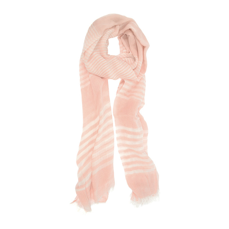 Pink Sheer Scarf with White Stripes and Frayed Tips