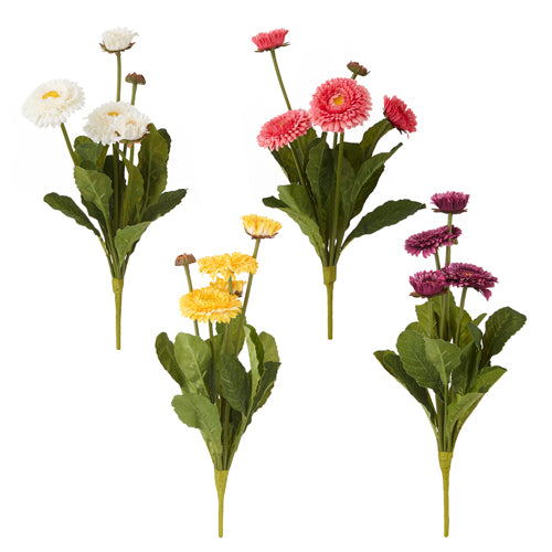 A collection of artificial gerbera daisy bushes on a white background.  From left is white, yellow, pink and purple.  Each bush has 5 blossoms in various states of open.