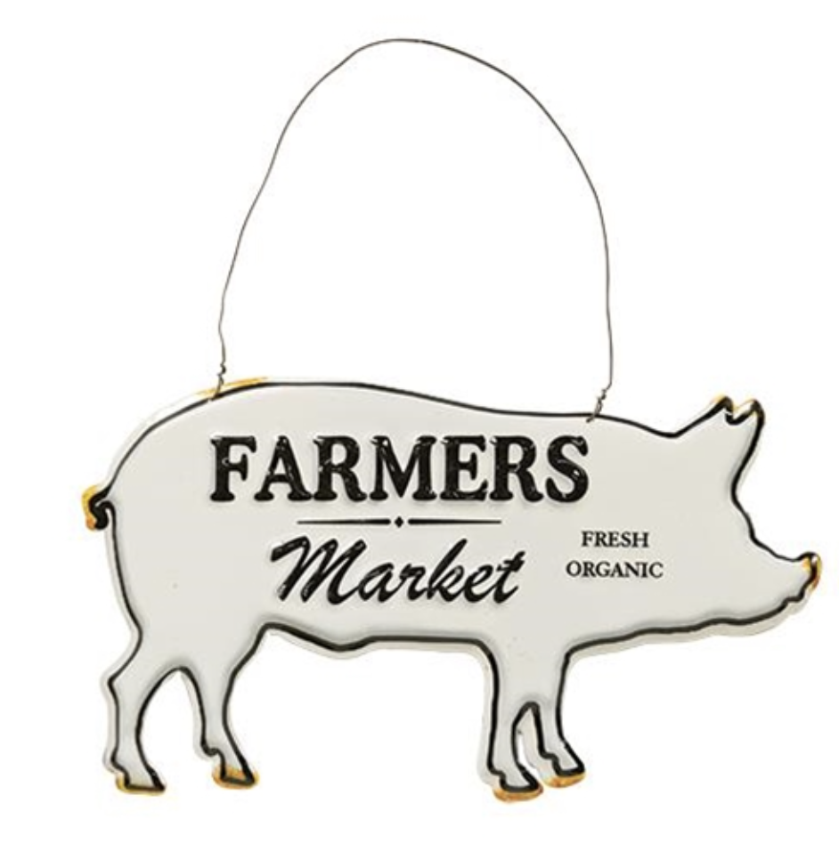 "Painted white galvanized pig sign with an arc of metal looped to the pig's back for hanging.  The text ""Farmers"" and ""Market"" are raised and painted black.  The sign features a black painted border around the perimeter and vintaged touches on the hooves, tail, snout and ears."