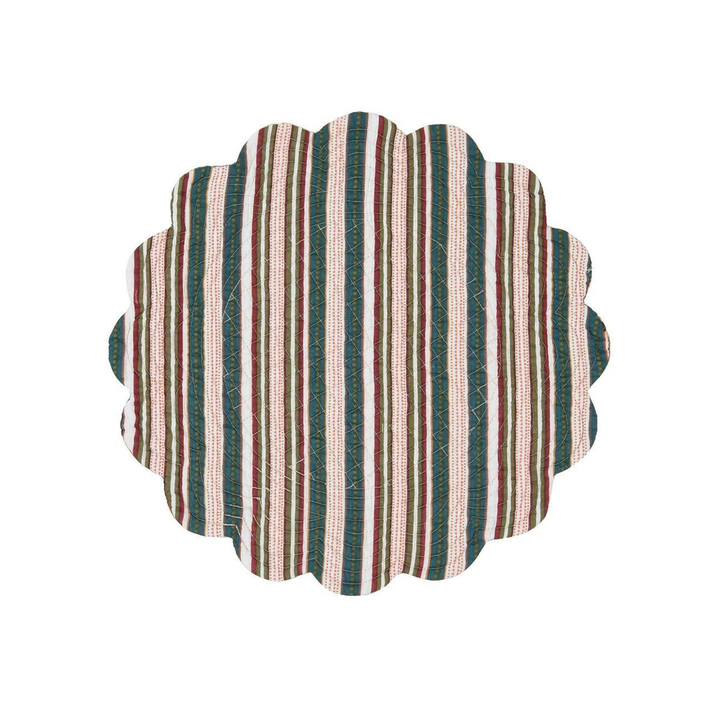 A round scalloped quilted placemat on a white background.  The pattern is of vertical stripes in hues of ochre, tomato, blue, green and brown.