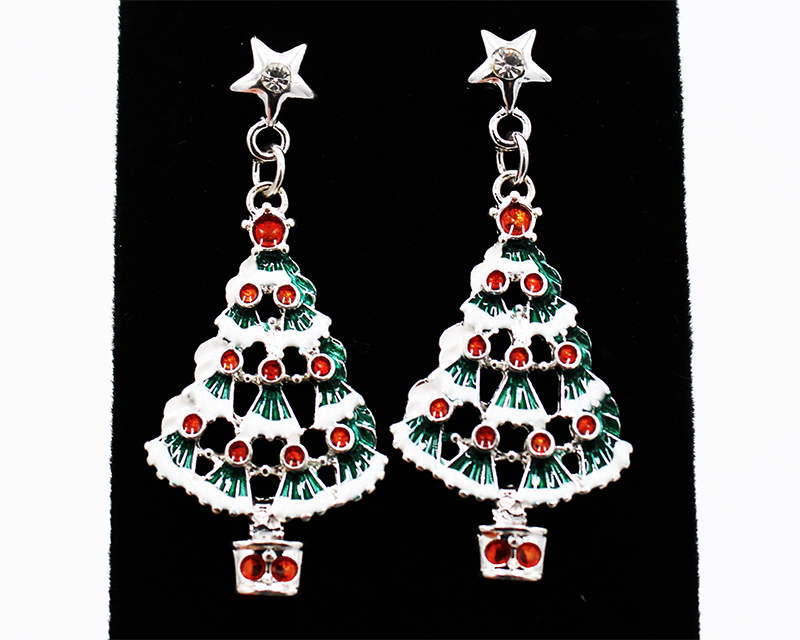 Unique Christmas Tree earrings with cutouts between fluted evergreens with touches of snow.  Shiny red ornaments throughout make these earrings dazzle.  Earring has three silver links above the tree that lead up to a star with a white rhinestone in it.